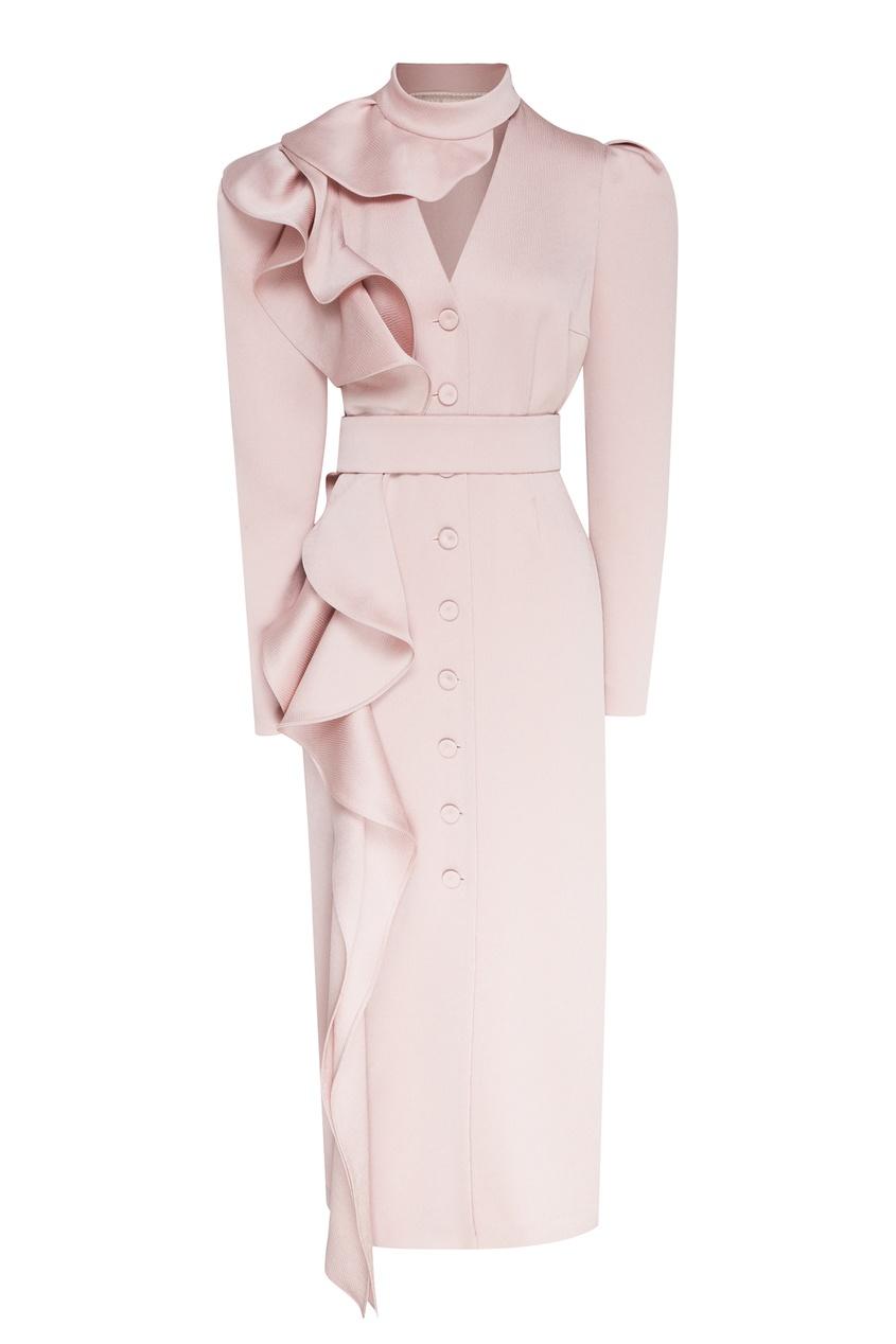 женское платье миди ulyana sergeenko, розовое