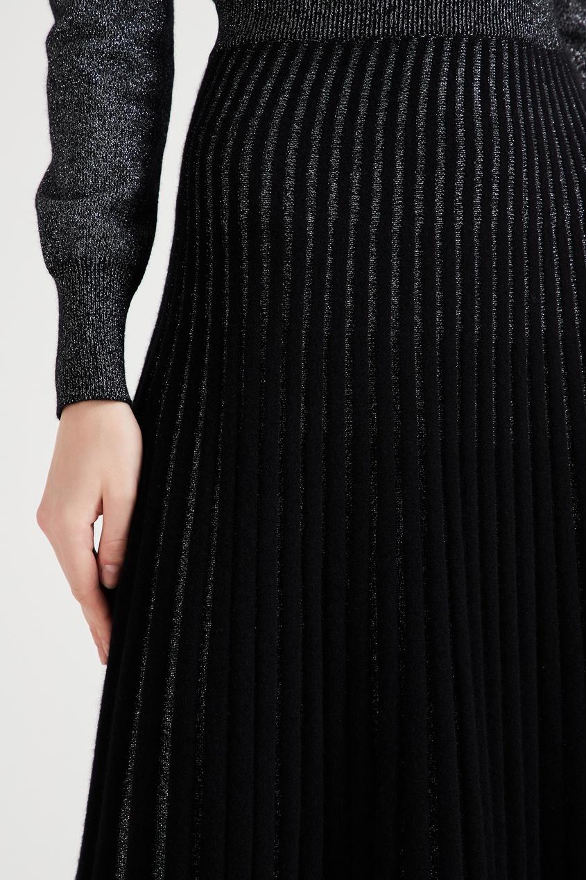 женская плиссированные юбка ulyana sergeenko, черная