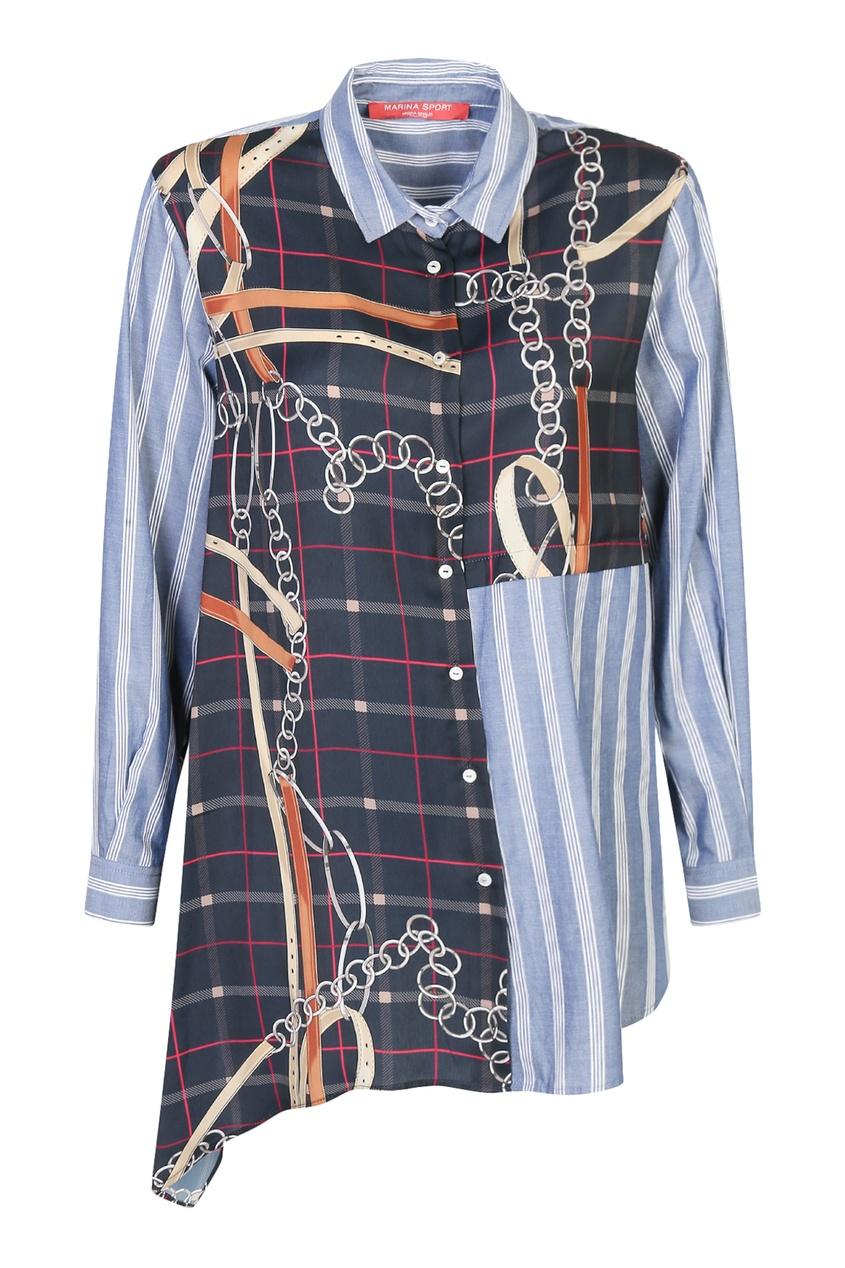 женская рубашка marina rinaldi, синяя