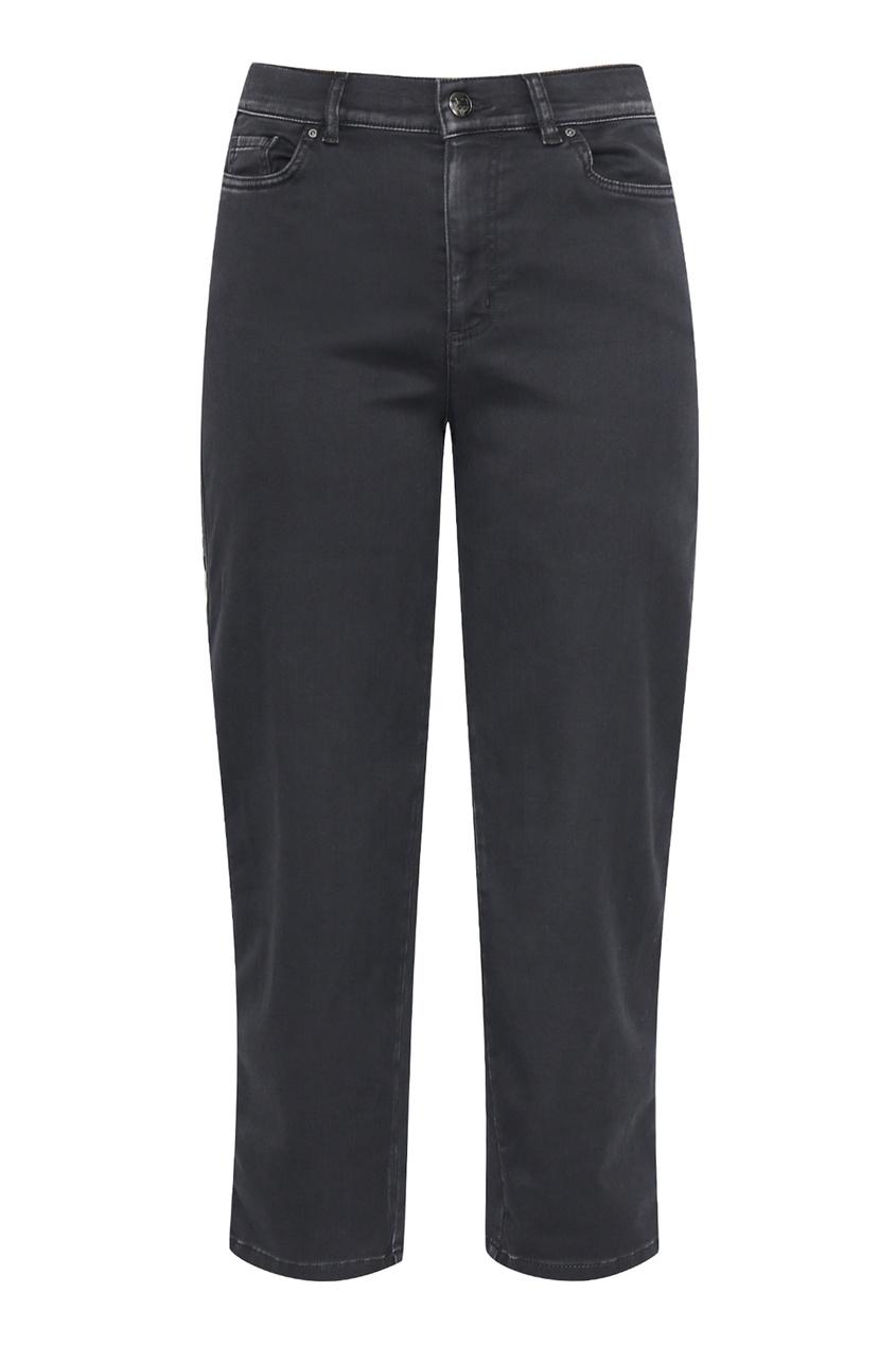 женские укороченные джинсы marina rinaldi, черные