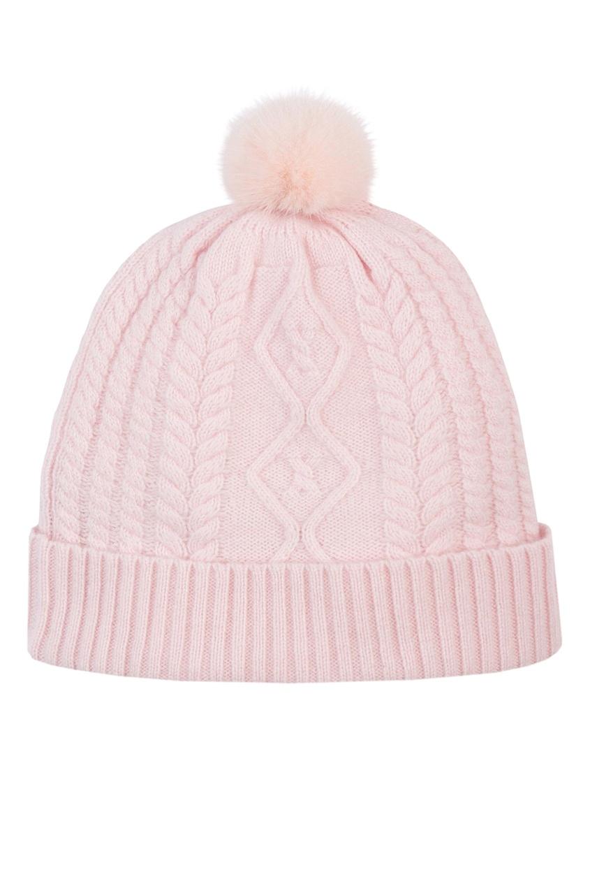 Вязаная розовая шапка с меховым помпоном