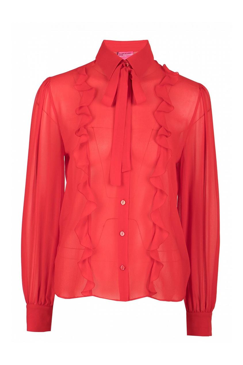женская шелковые блузка blumarine, красная