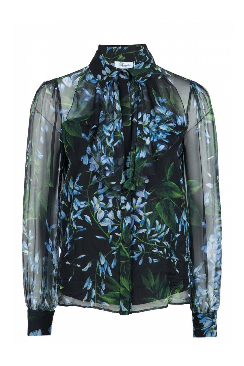 женская шелковые блузка blumarine, черная