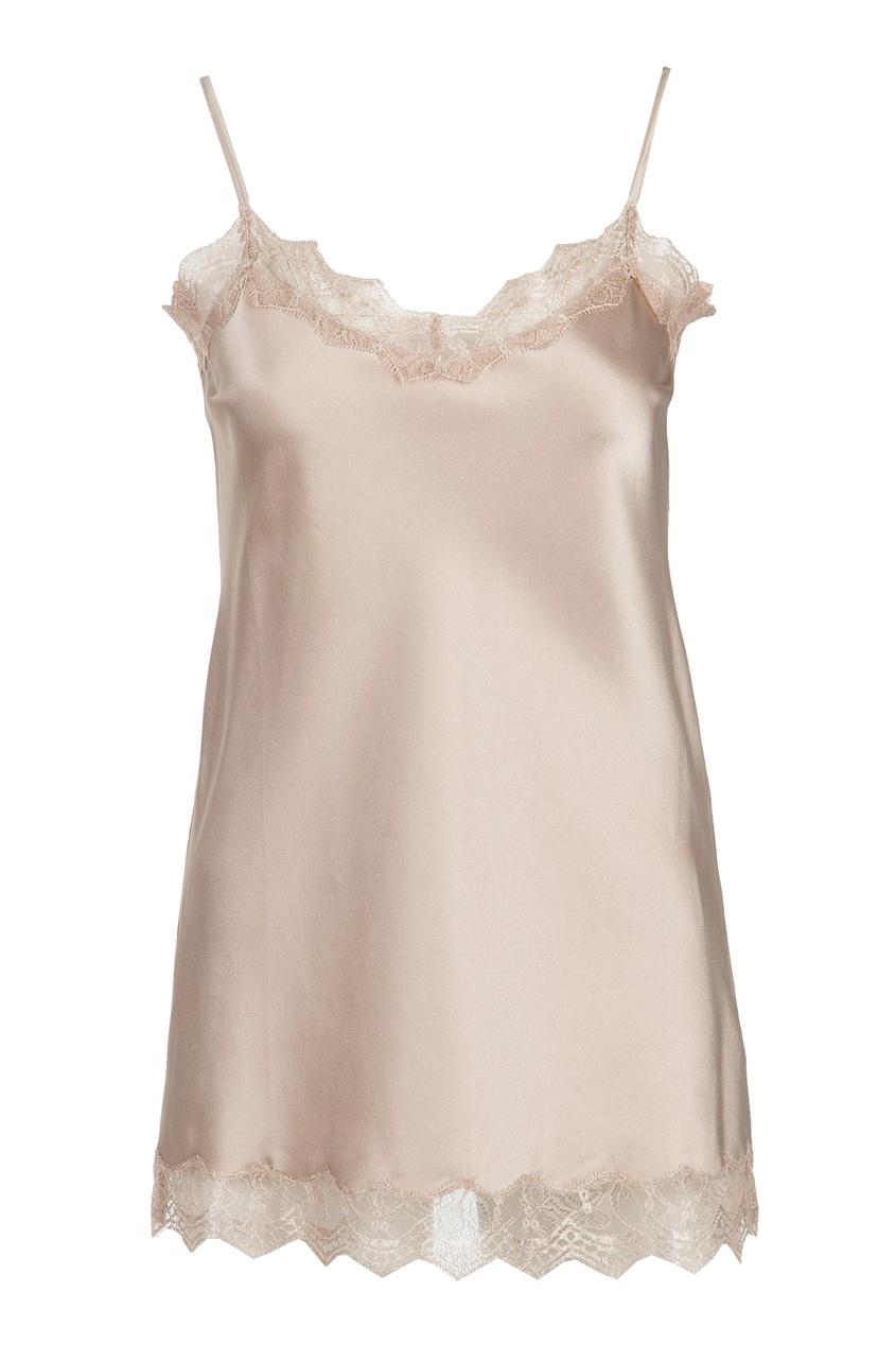 Нежно-розовая блузка-комбинация с кружевом
