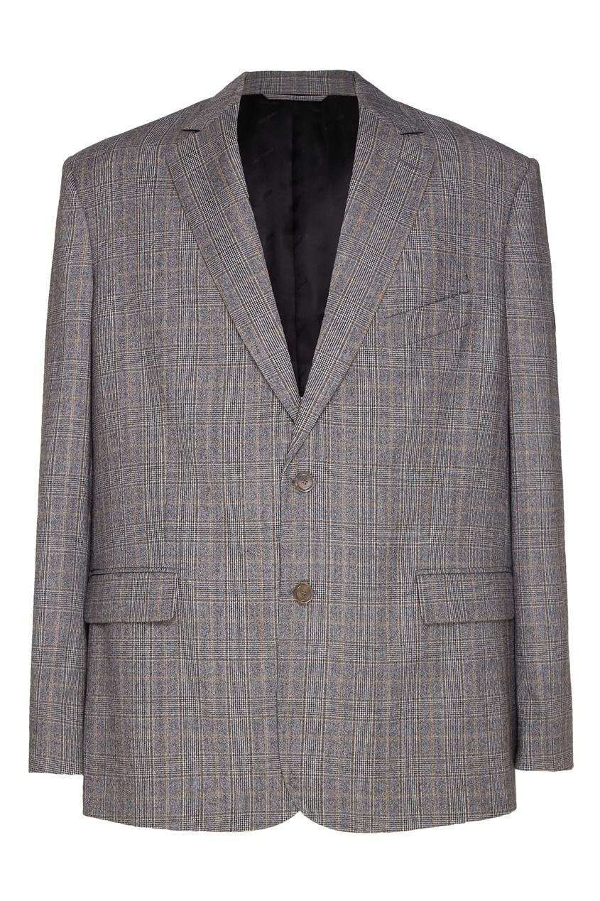 мужской пиджак в клетку balenciaga, черный
