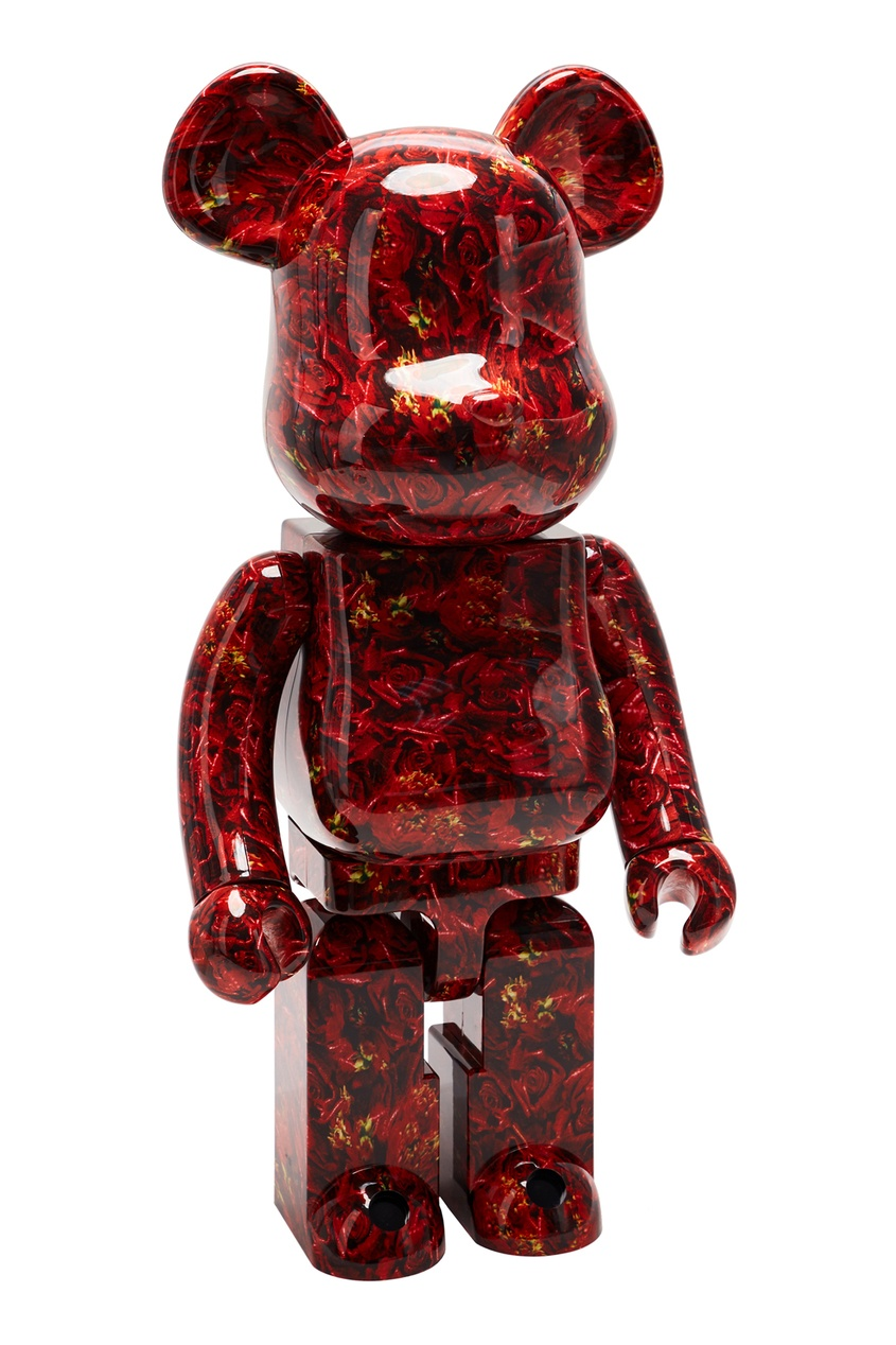 Статуэтка для интерьера Bearbrick M / Mika Ninagawa Leather Rose 1000% Medicom Toy x x Mika Ninagawa