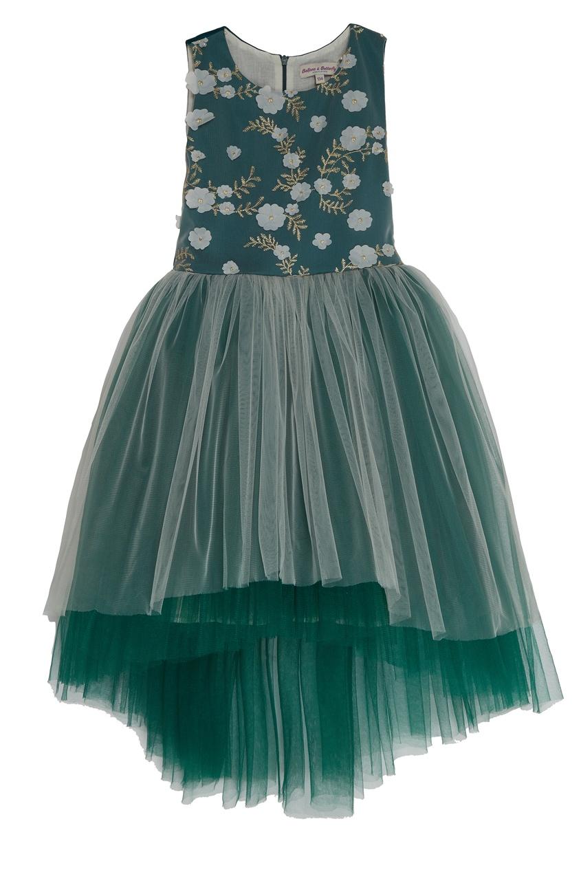 Бирюзовое платье с цветочной аппликацией Balloon and Butterfly