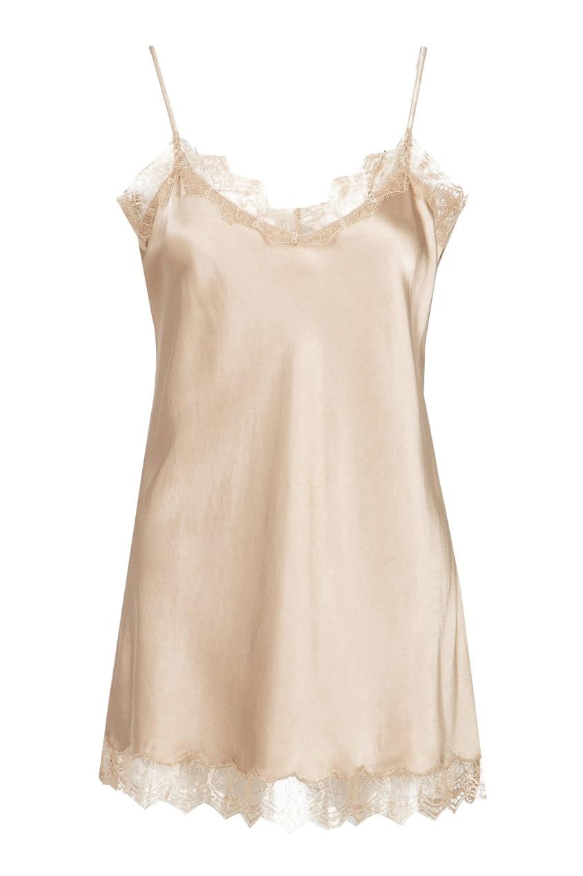 Розовая блузка-комбинация с кружевом
