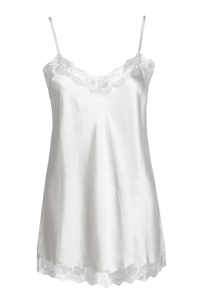 Жемчужно-серая блузка-комбинация с кружевом