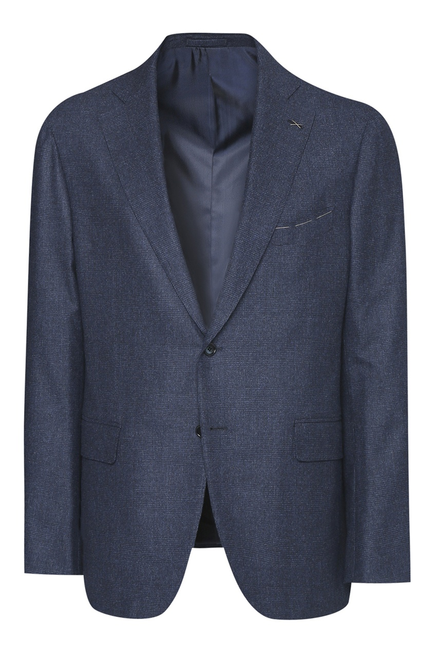 Синий костюм из шерсти в клетку Lardini