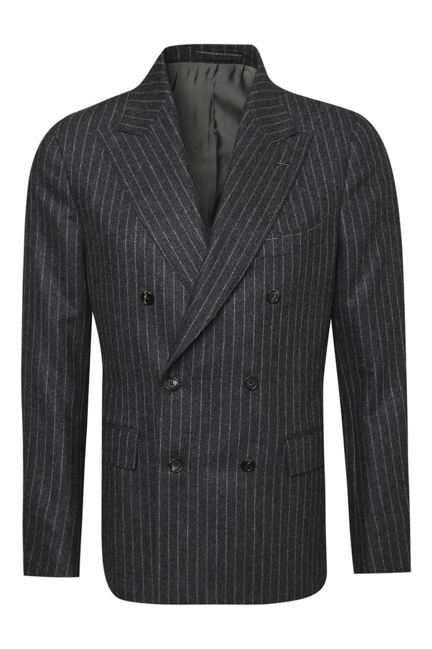 Купить со скидкой Черный шерстяной костюм в полоску