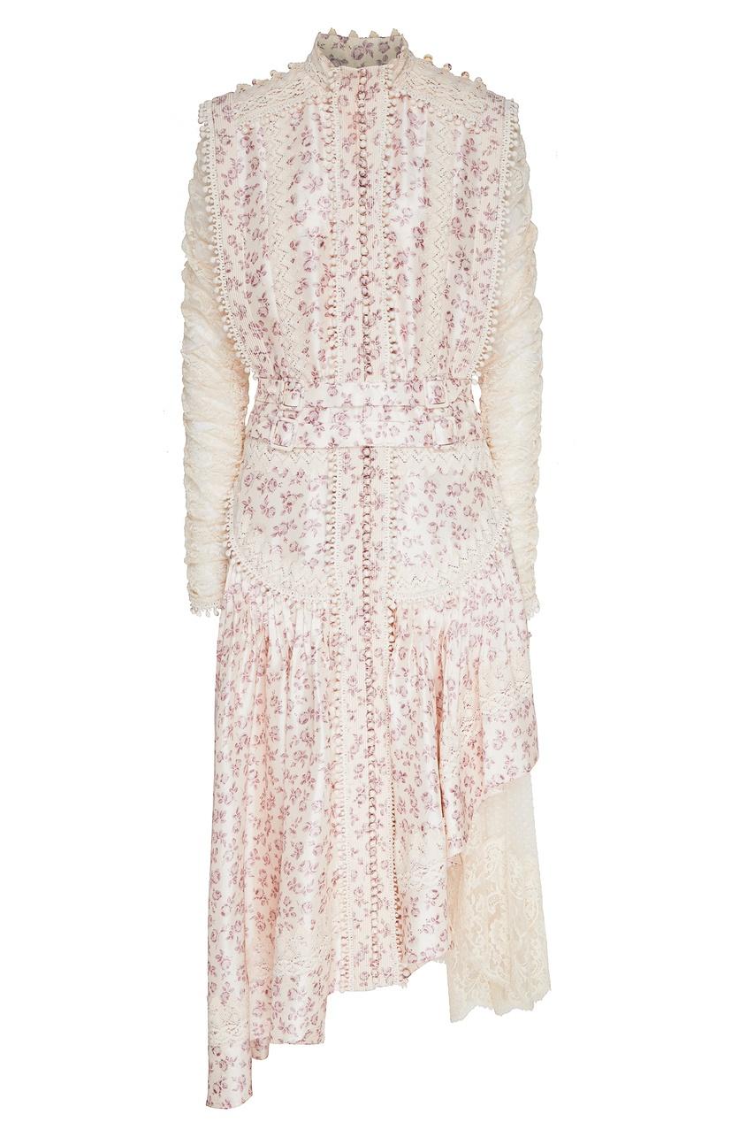 женское кружевные платье zimmermann, бежевое