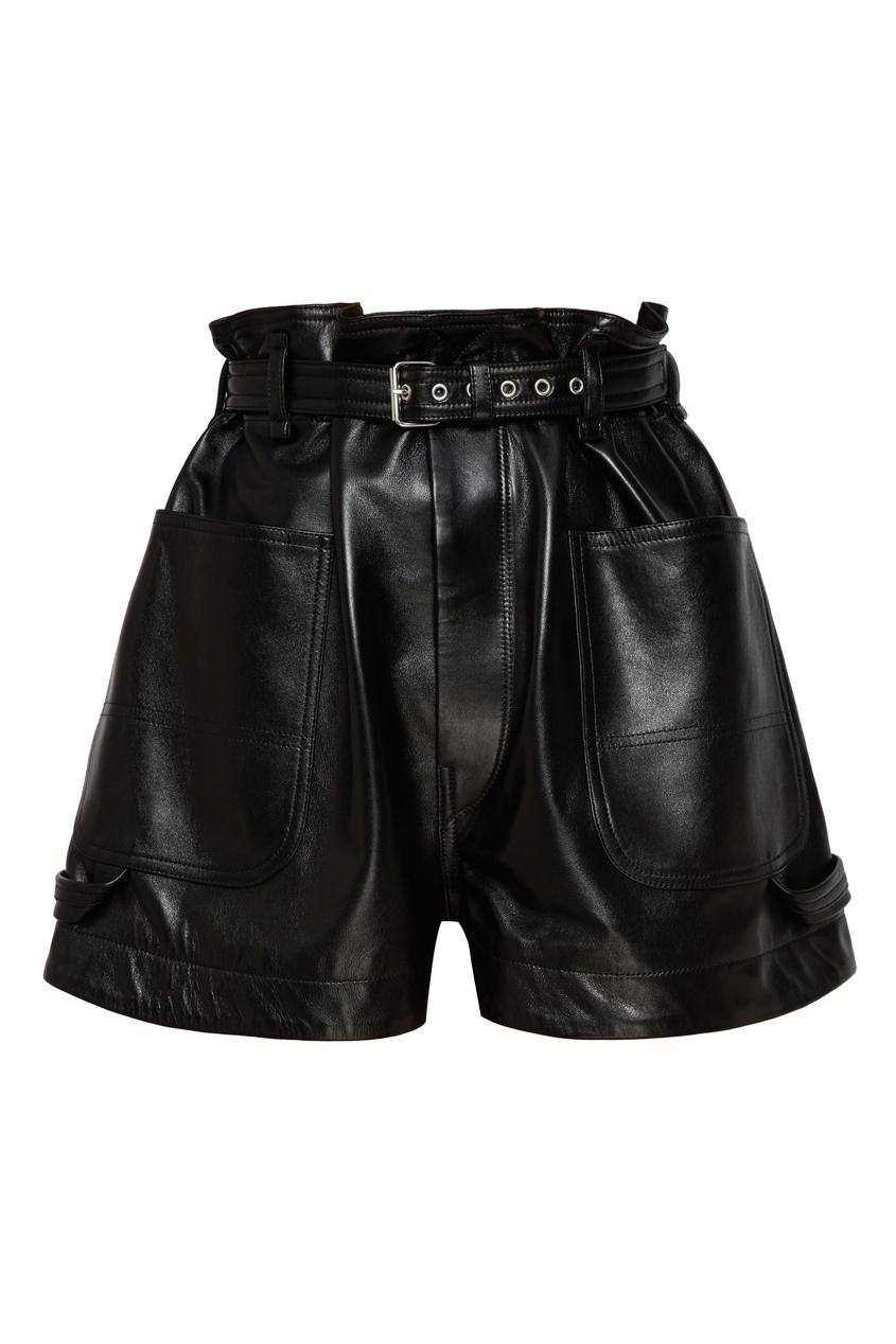 женские кожаные шорты isabel marant, черные