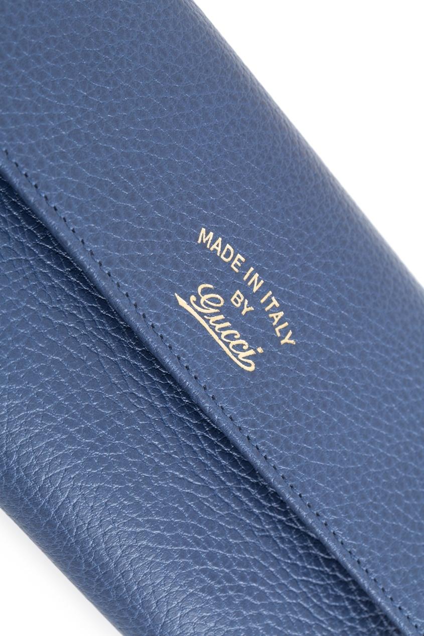 Фото 3 - Кожаный кошелек от Gucci синего цвета