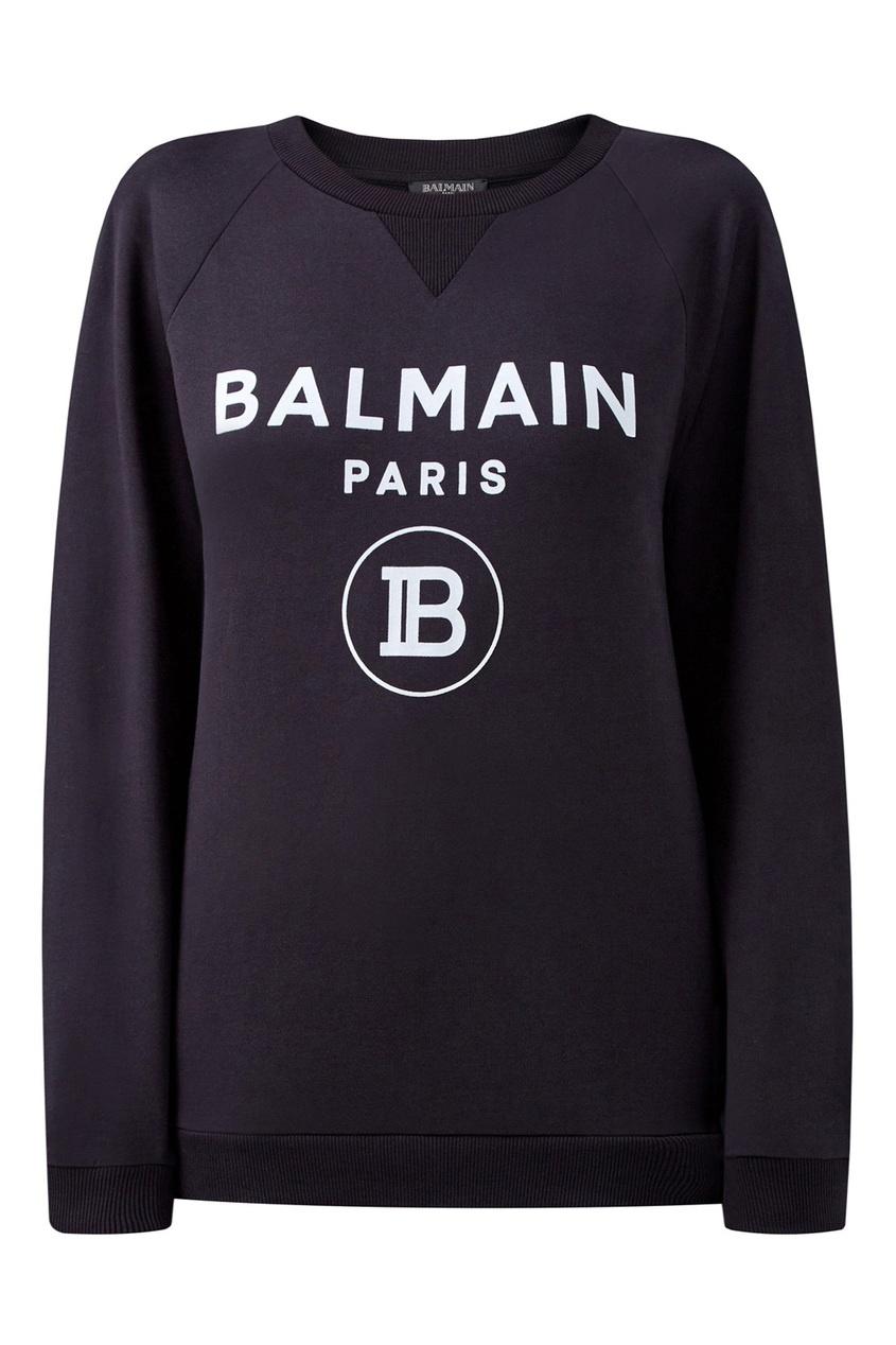 Черный свитшот с треугольной вставкой от Balmain