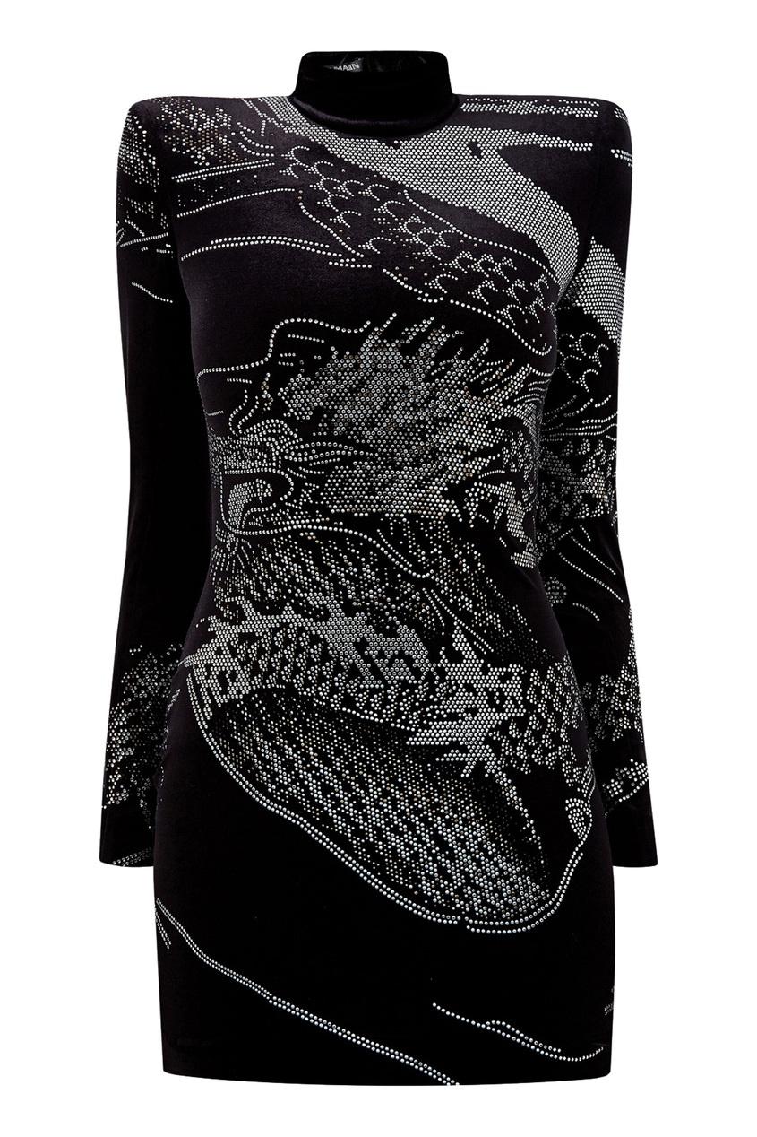 Черное платье со стразами от Balmain