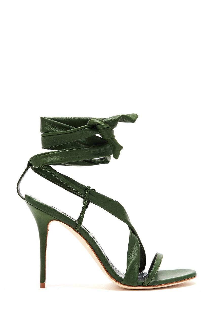 женские босоножки manolo blahnik, зеленые