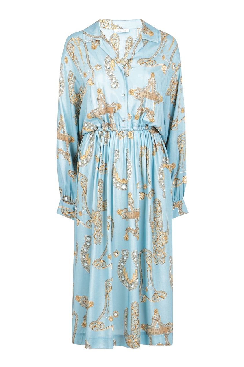 женское платье versace, голубое