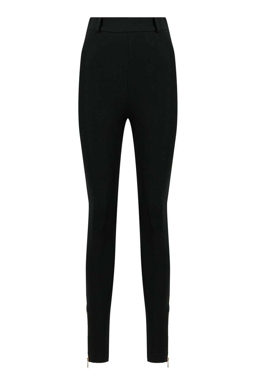 женские брюки с высокой посадкой versace, черные