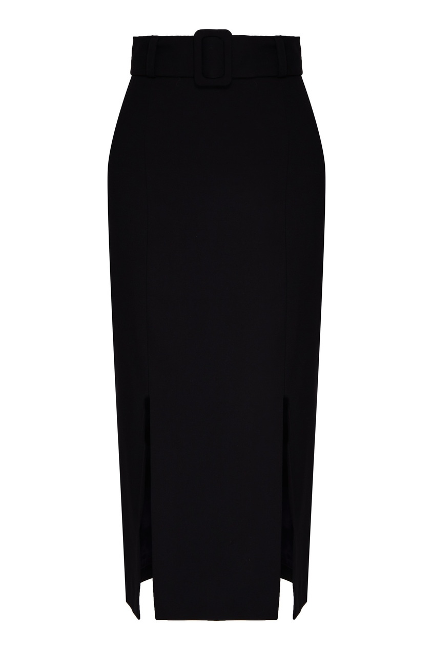 Черная полушерстяная юбка.