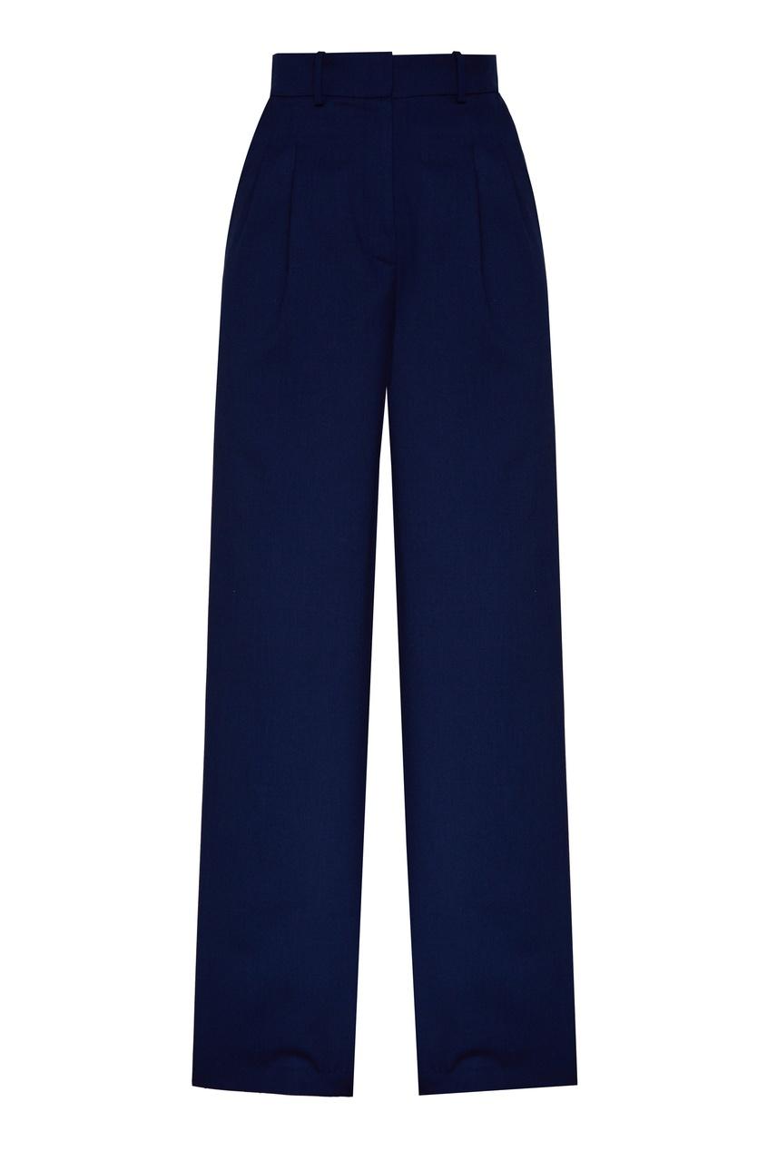 Темно-синие полушерстяные брюки.