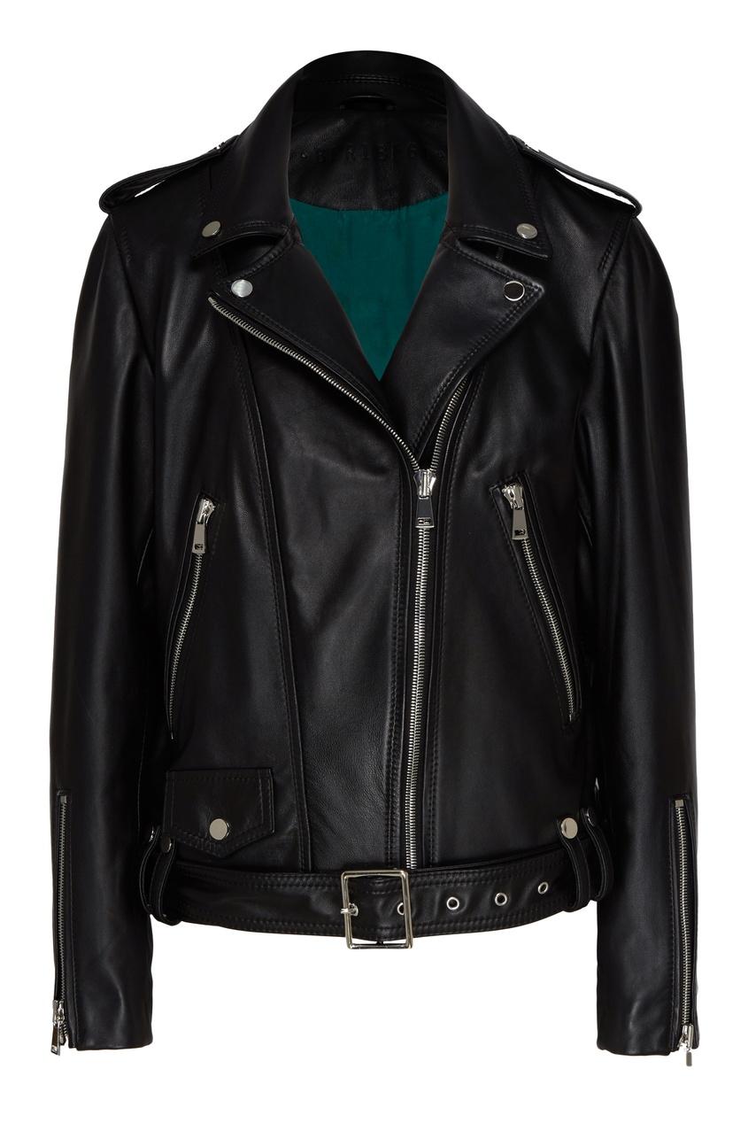 Черная куртка-косуха с погонами.