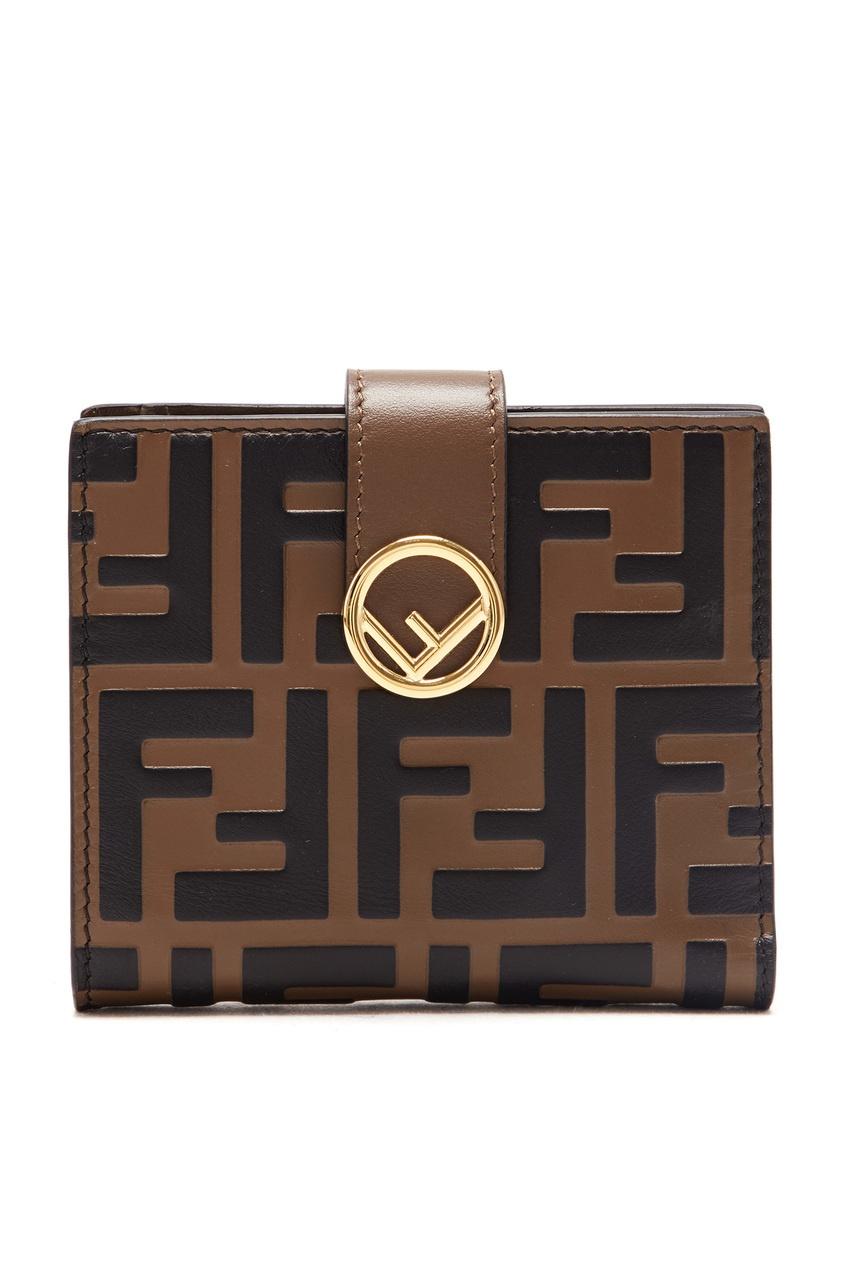 женский кошелёк fendi, коричневый