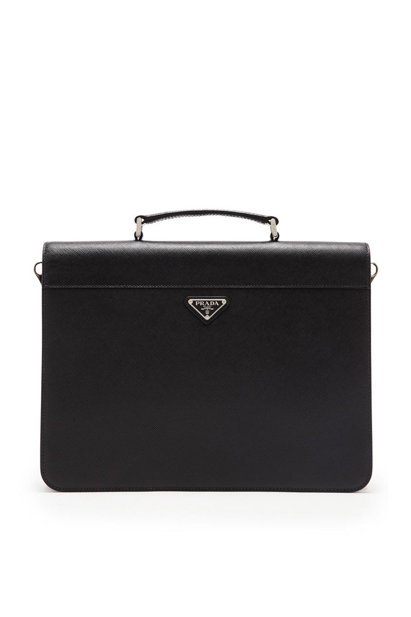 мужской кожаные портфель prada, черный