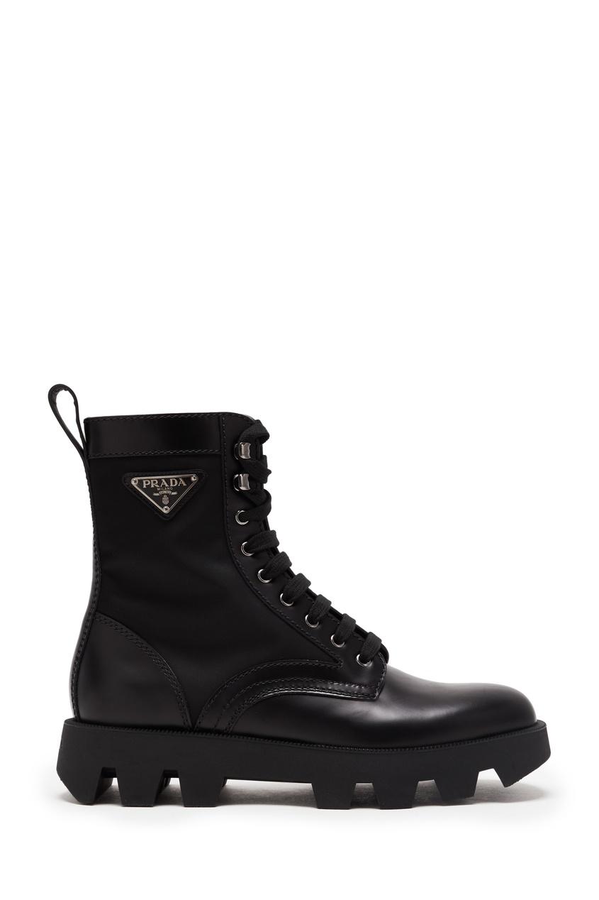 мужские высокие ботинки prada, черные