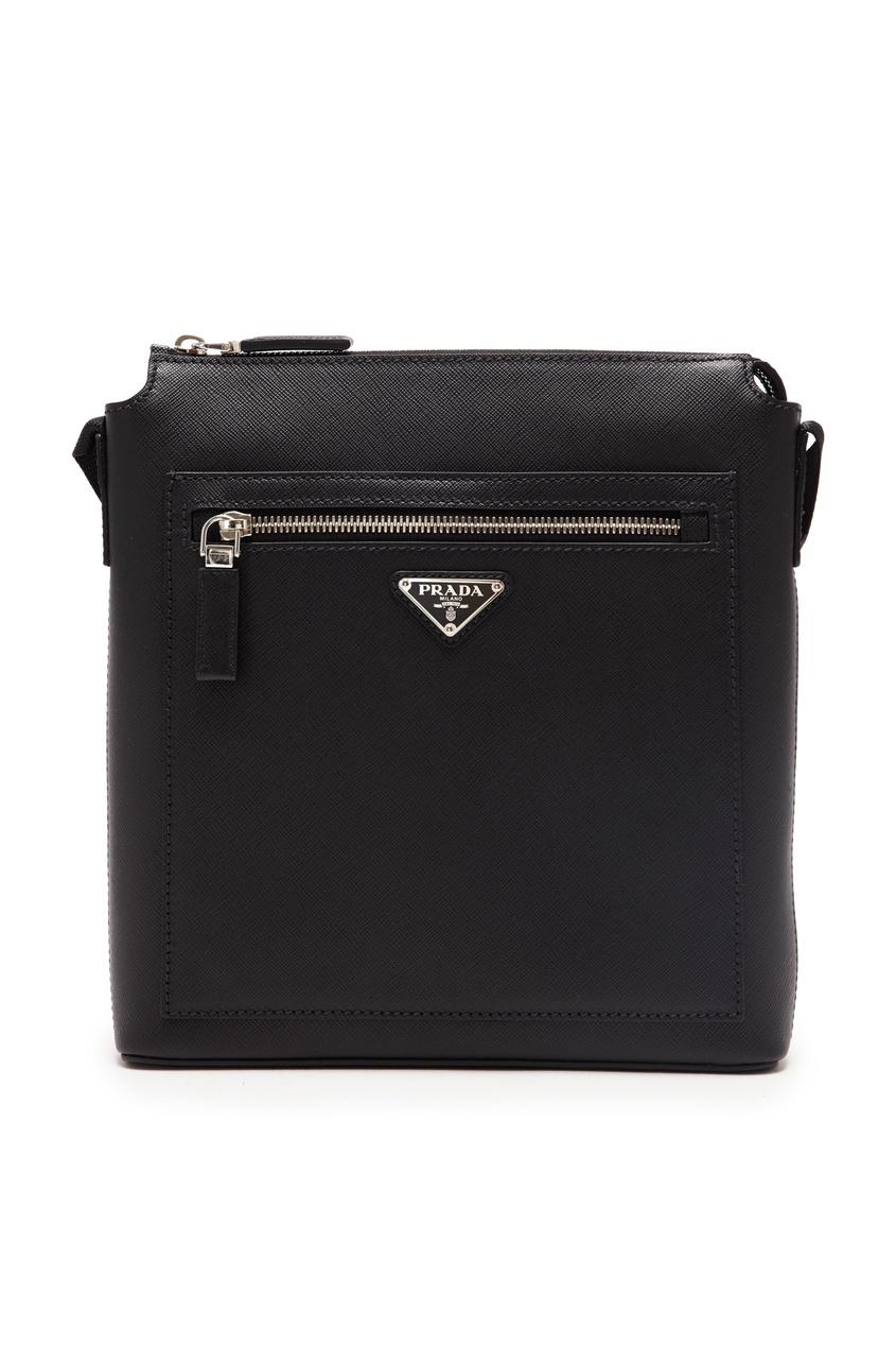 мужская кожаные сумка prada, черная