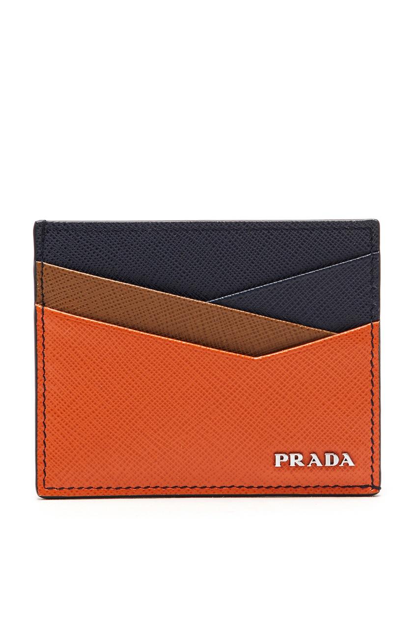 Разноцветный картхолдер с логотипом от Prada
