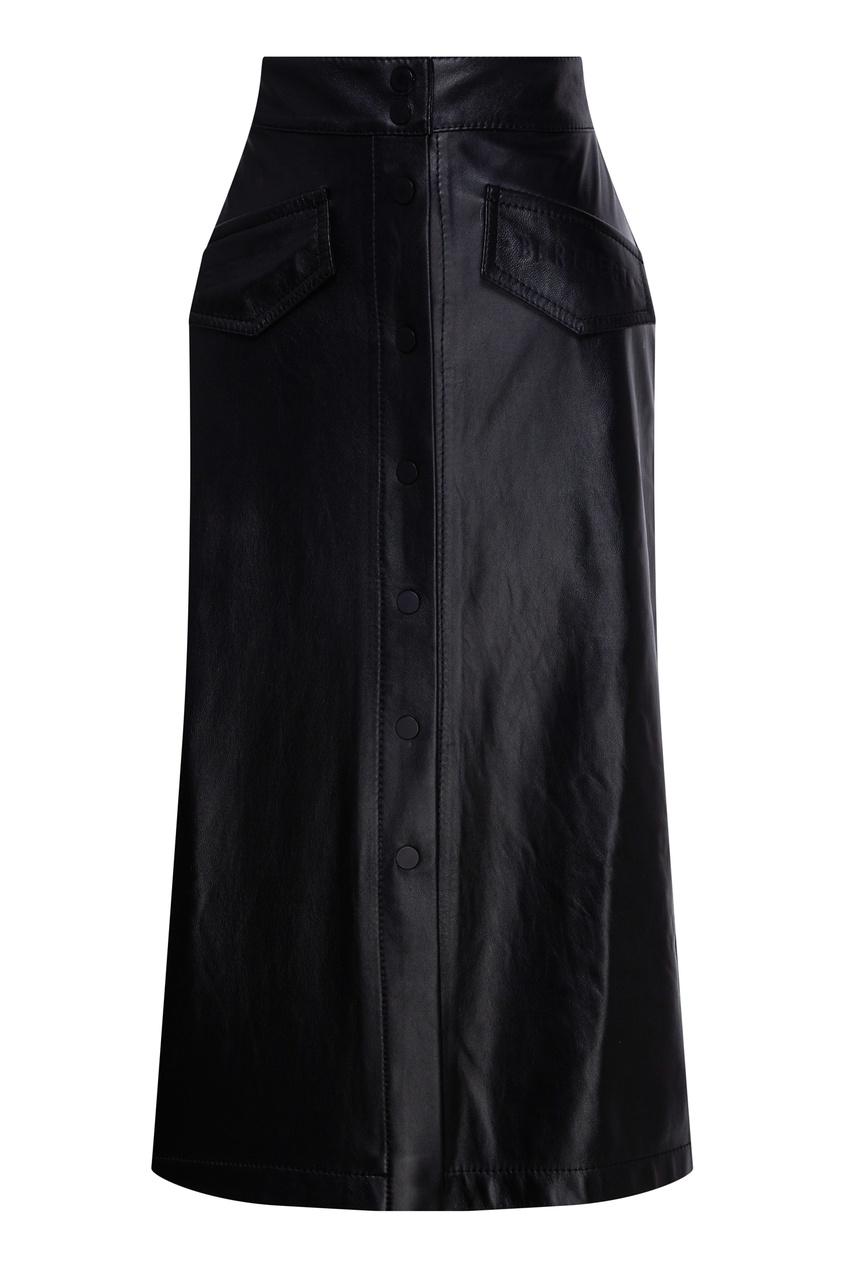 Кожаная юбка-карандаш на пуговицах.