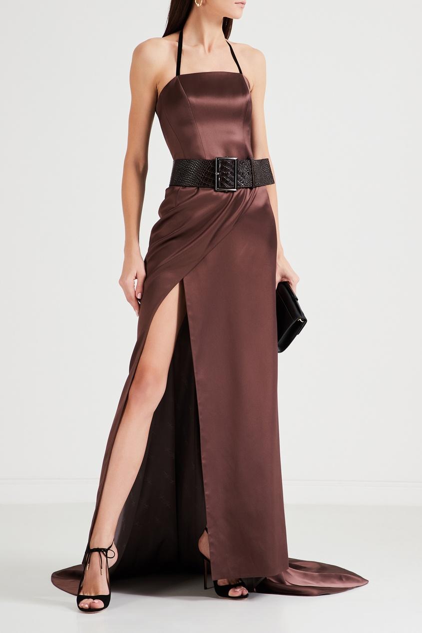 Коричневое Шелковое Платье