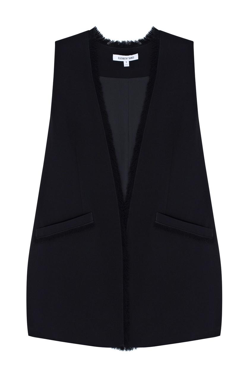 Фото 5 - Однотонный жилет черного цвета