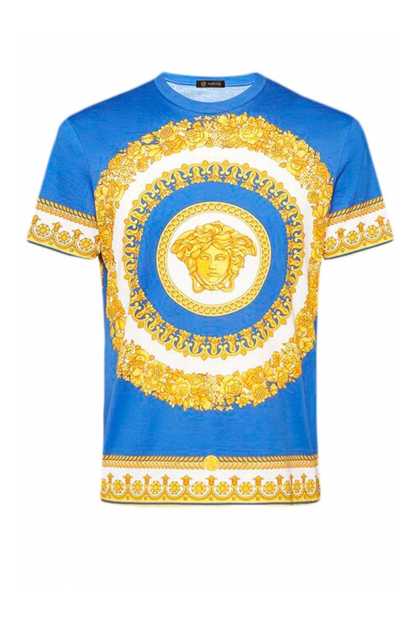 мужская футболка с принтом versace, синяя