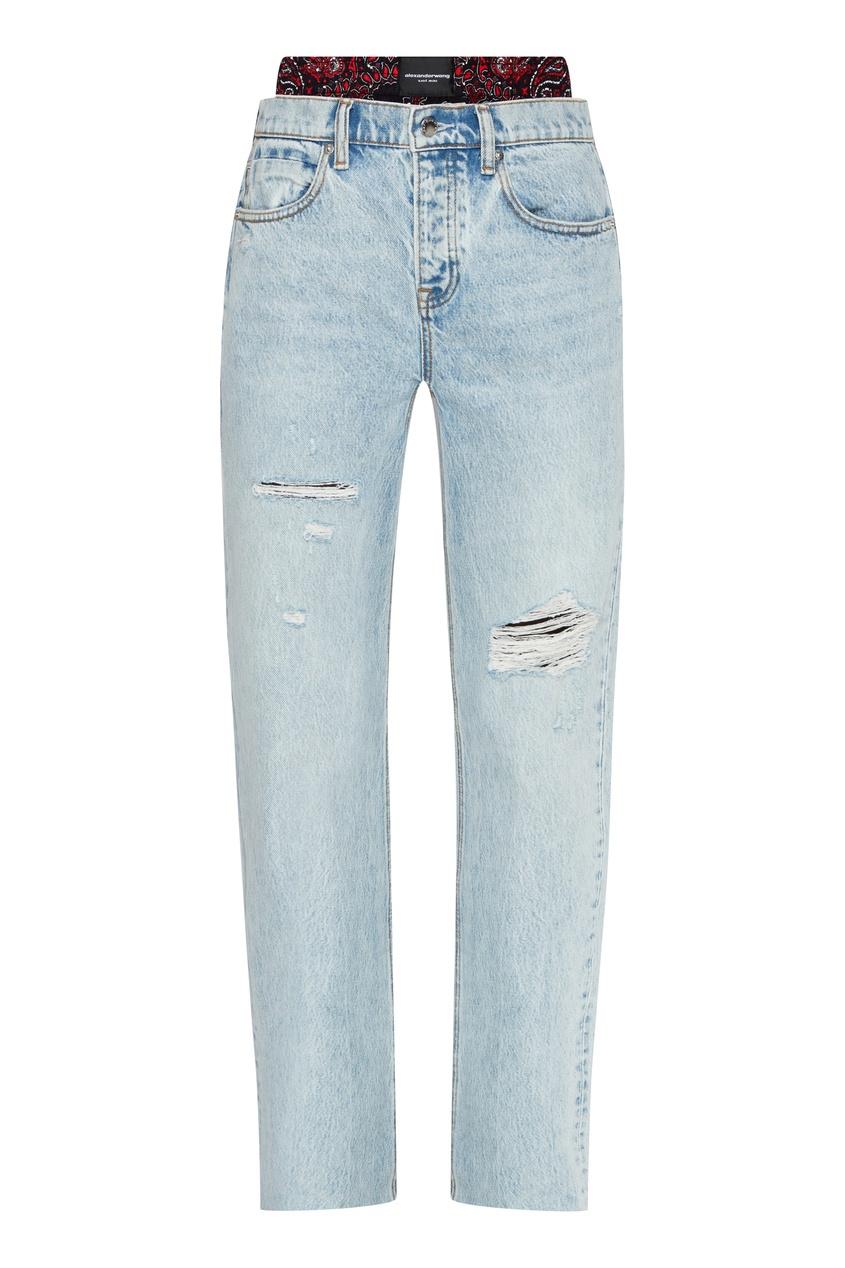 Голубые джинсы с рваным краем Alexander Wang