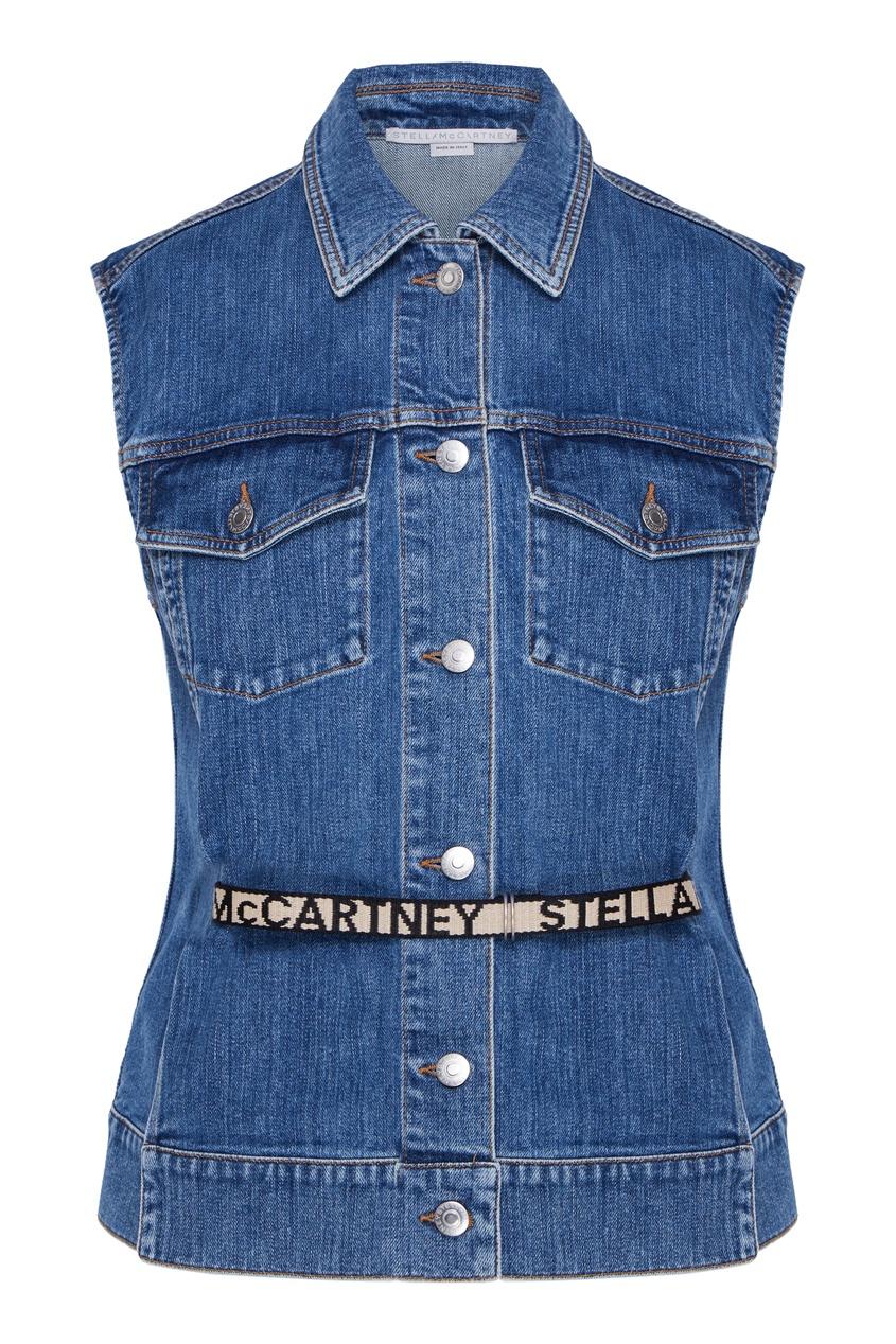 женский джинсовые жилет stella mccartney, синий