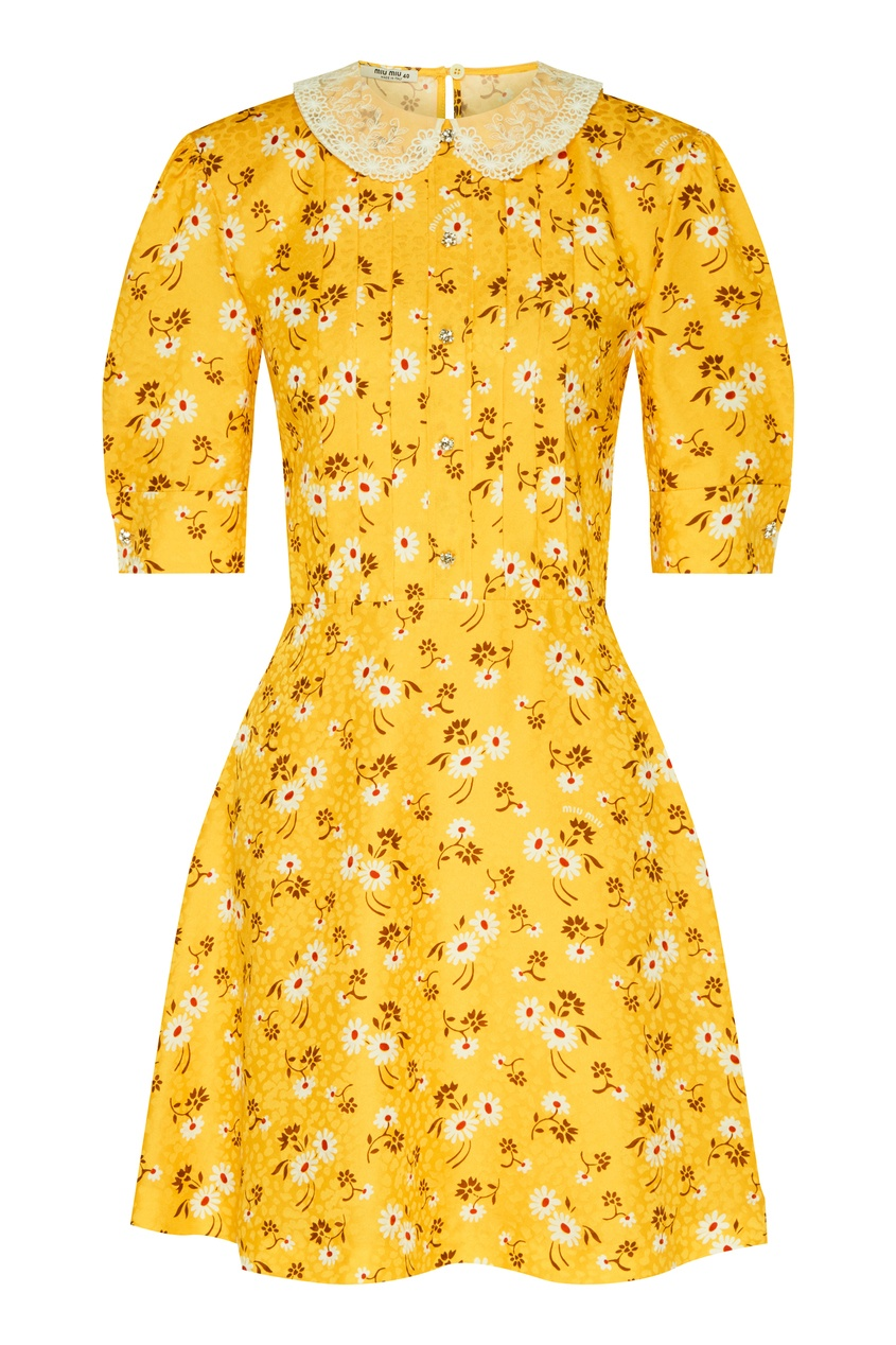 женское кружевные платье miu miu, желтое