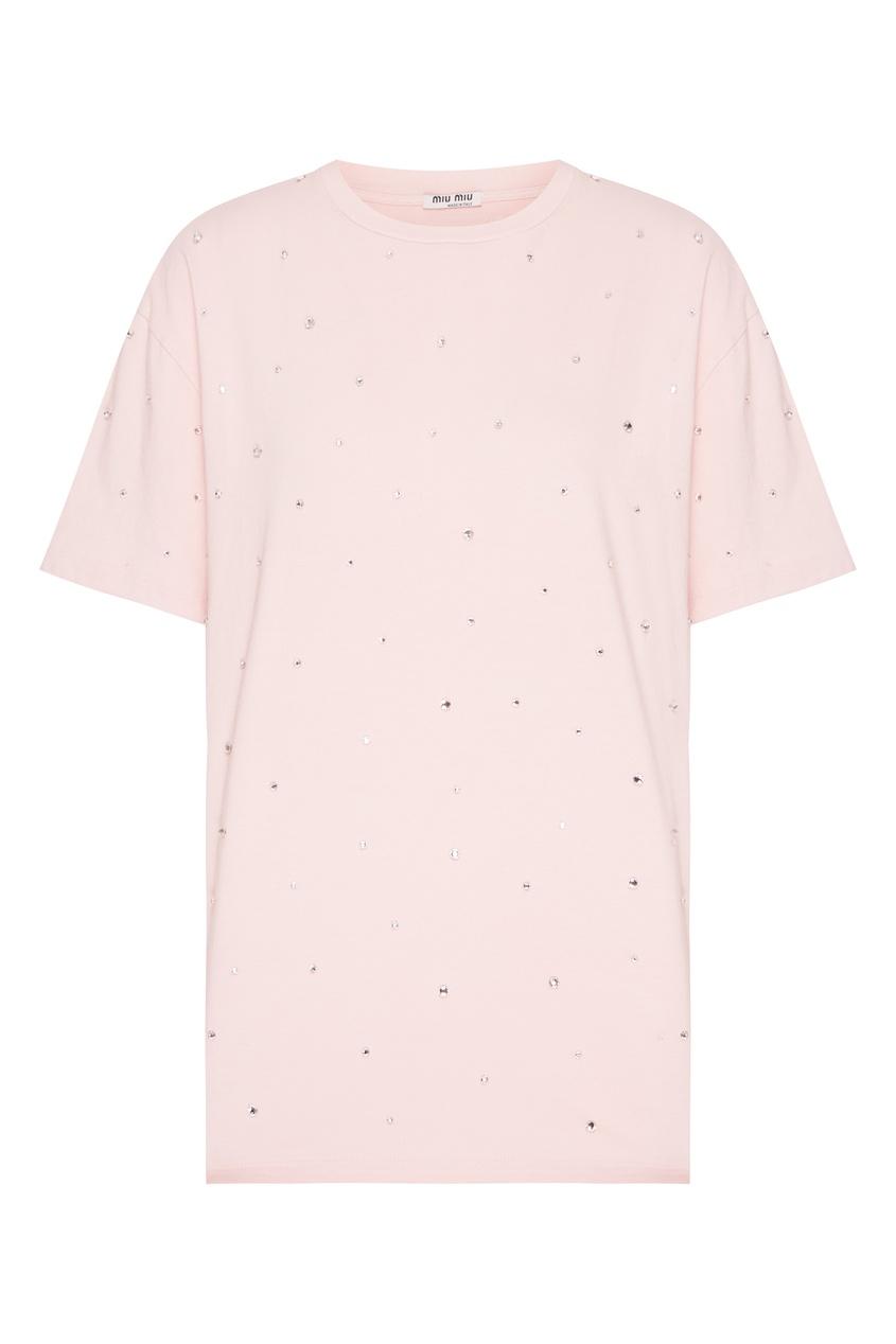 женская футболка miu miu, розовая