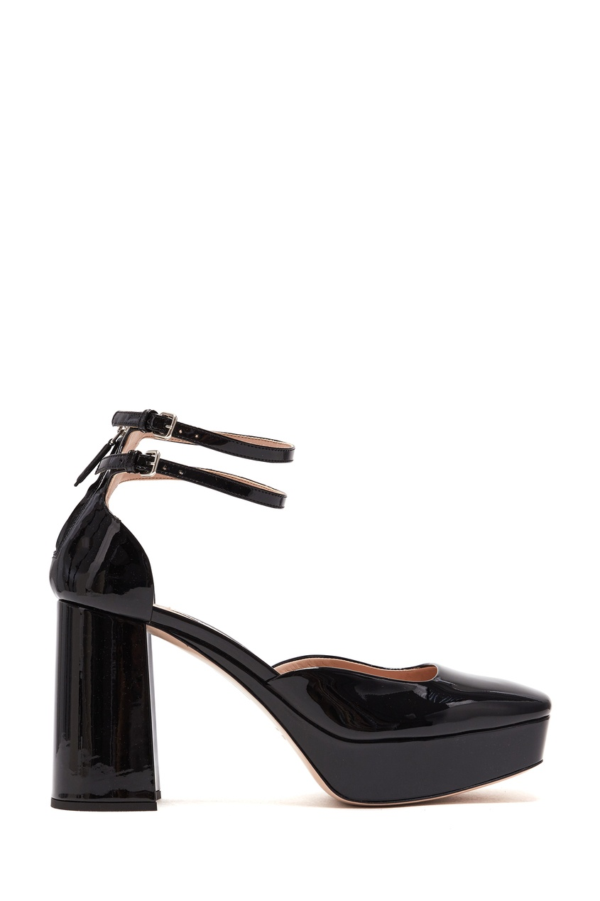 женские туфли на платформе miu miu, черные