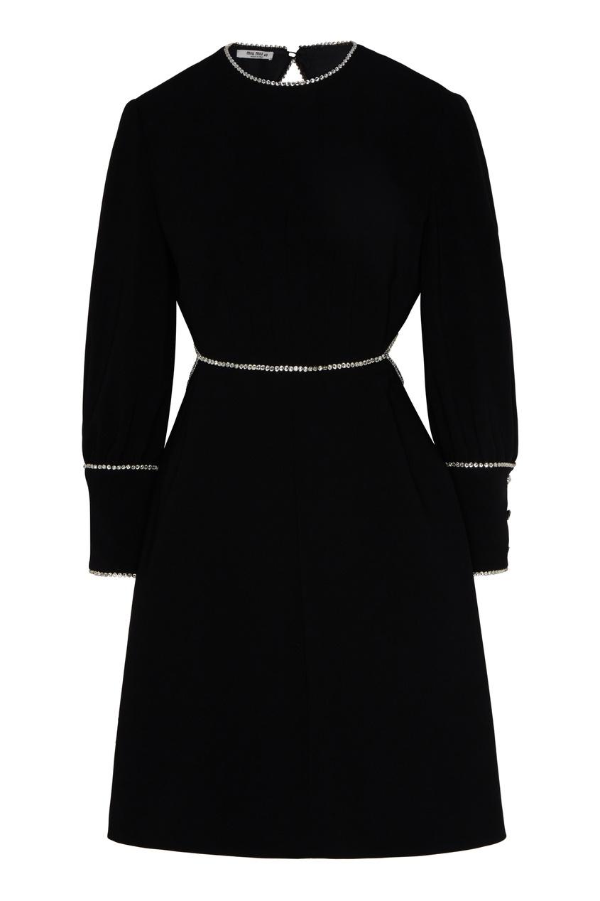 женское платье с открытой спиной miu miu, черное