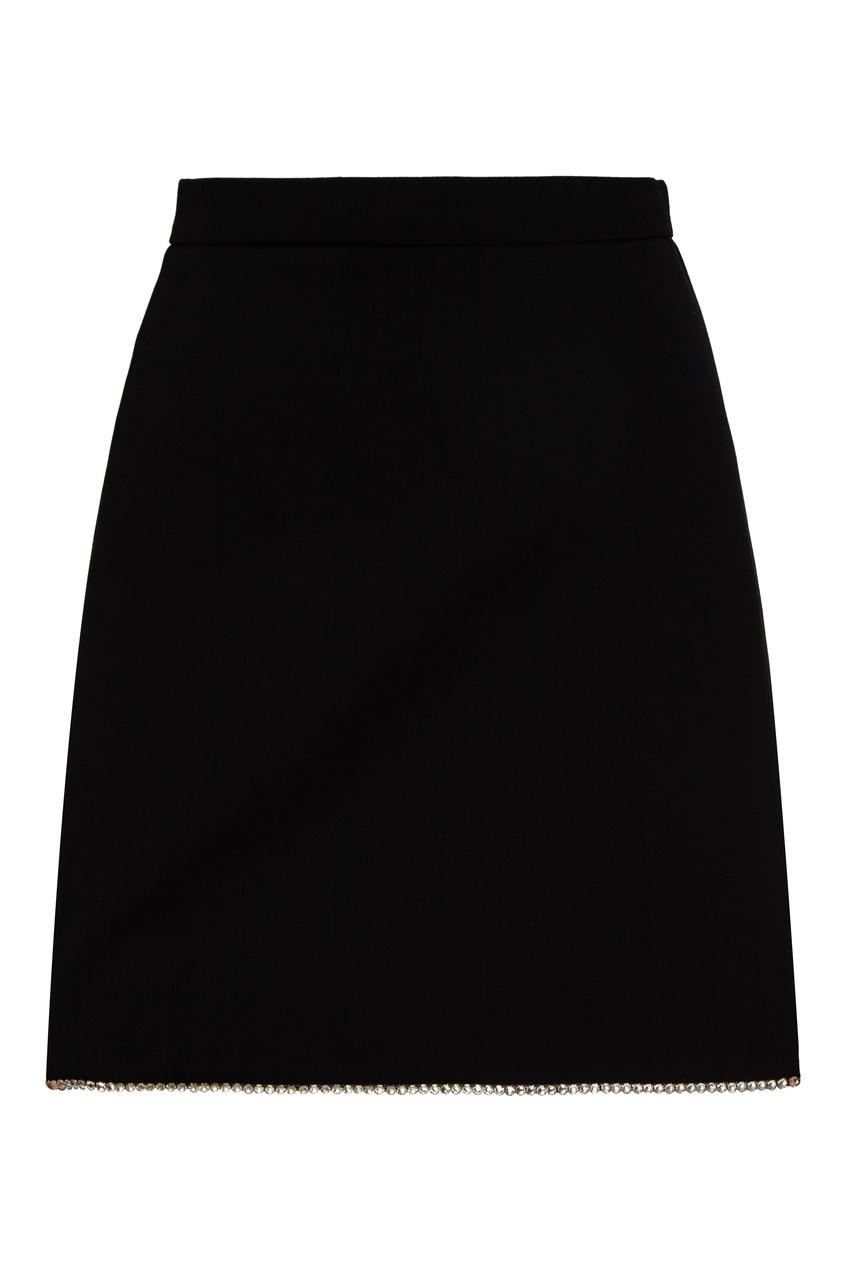 женская юбка мини miu miu, черная