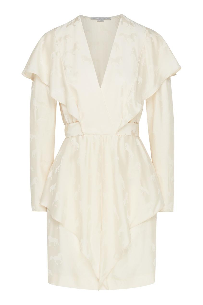 женское шелковые платье stella mccartney, белое