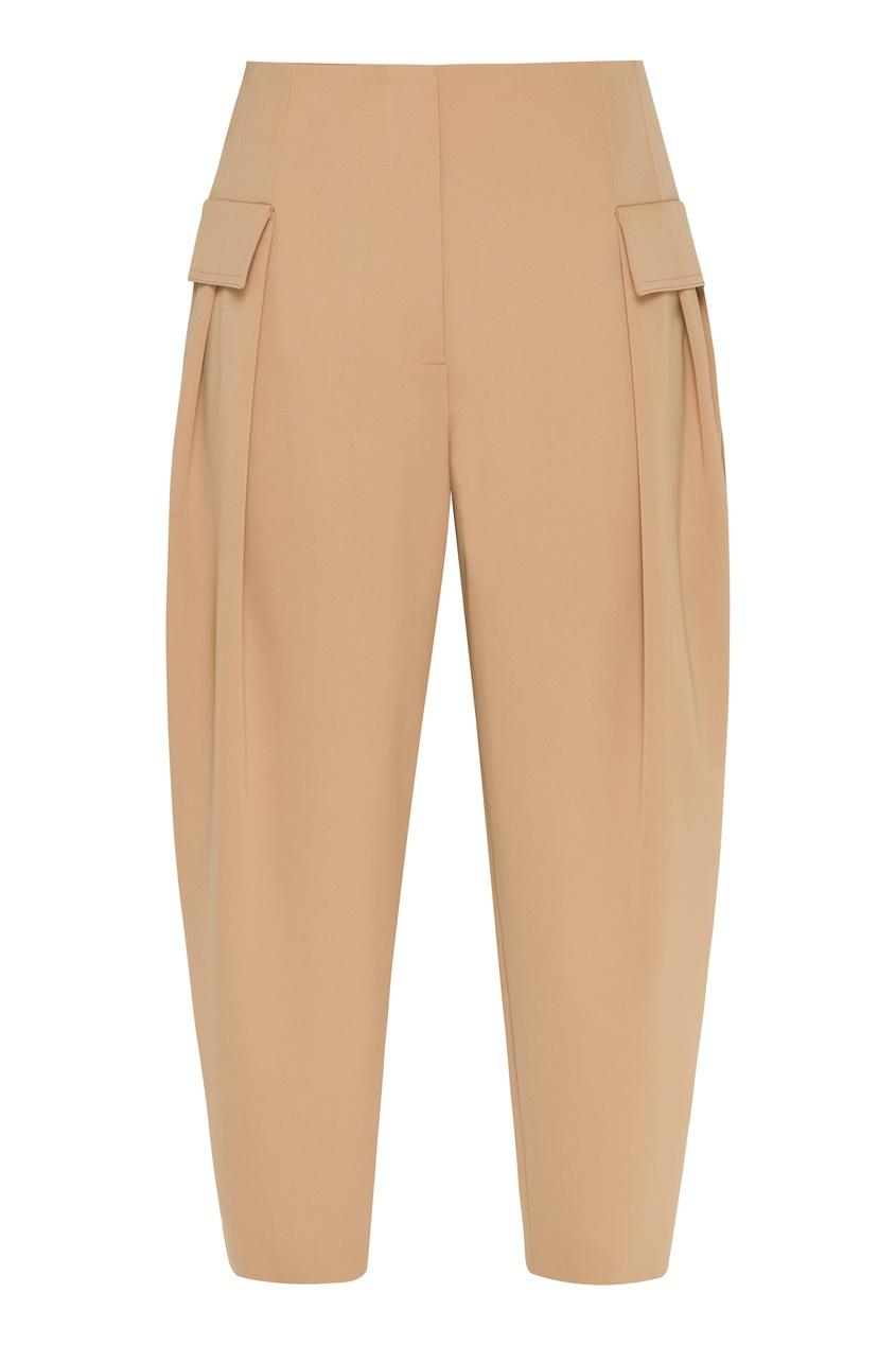 женские шерстяные брюки stella mccartney, бежевые