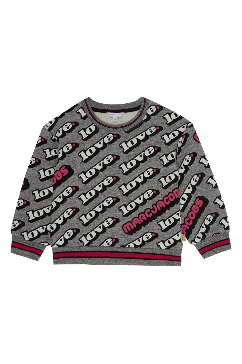 Серый свитшот с надписями от Little Marc Jacobs