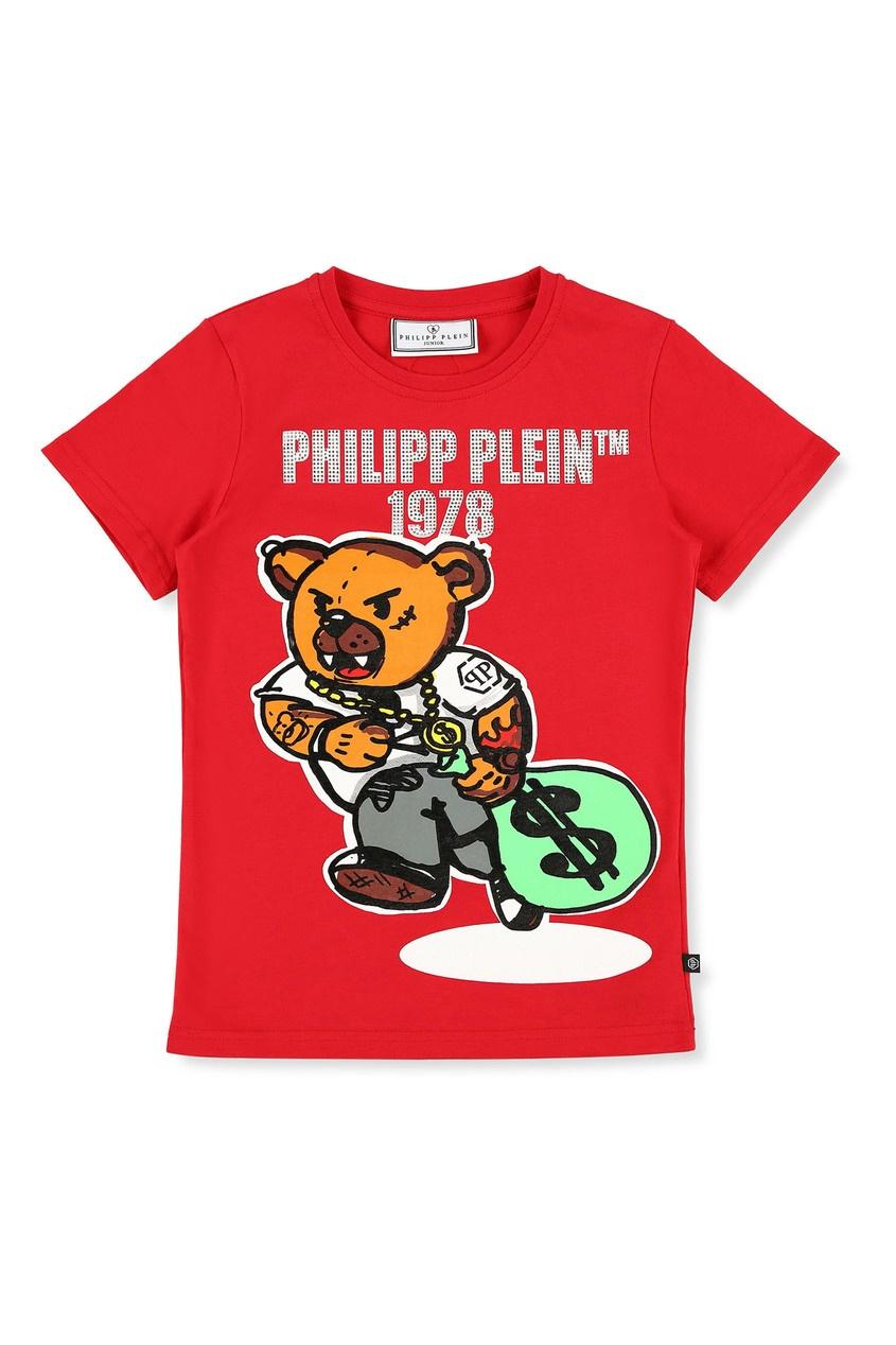Красная футболка с ярким принтом Philipp Plein