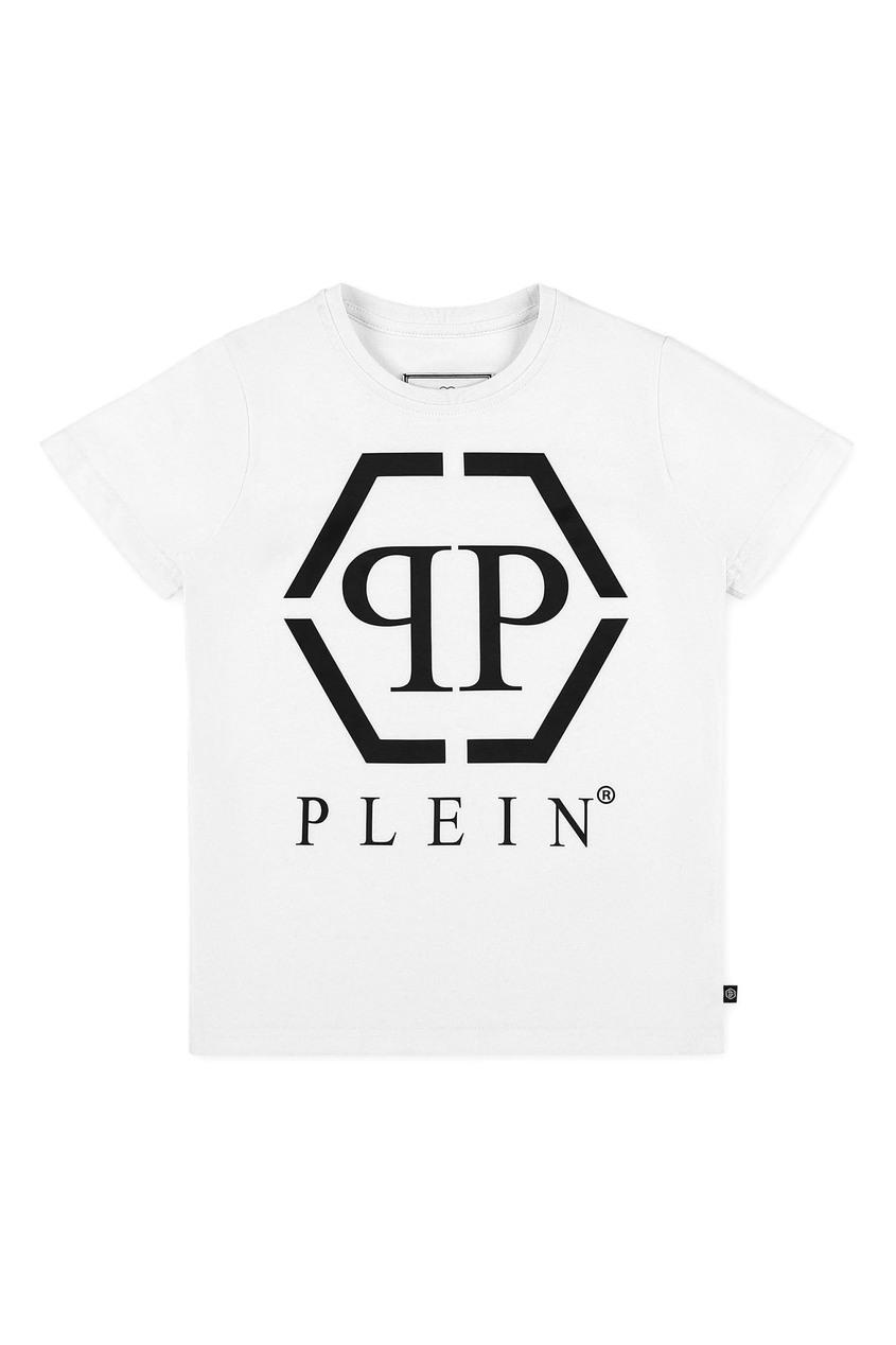 Белая футболка с принтом-логотипом Philipp Plein