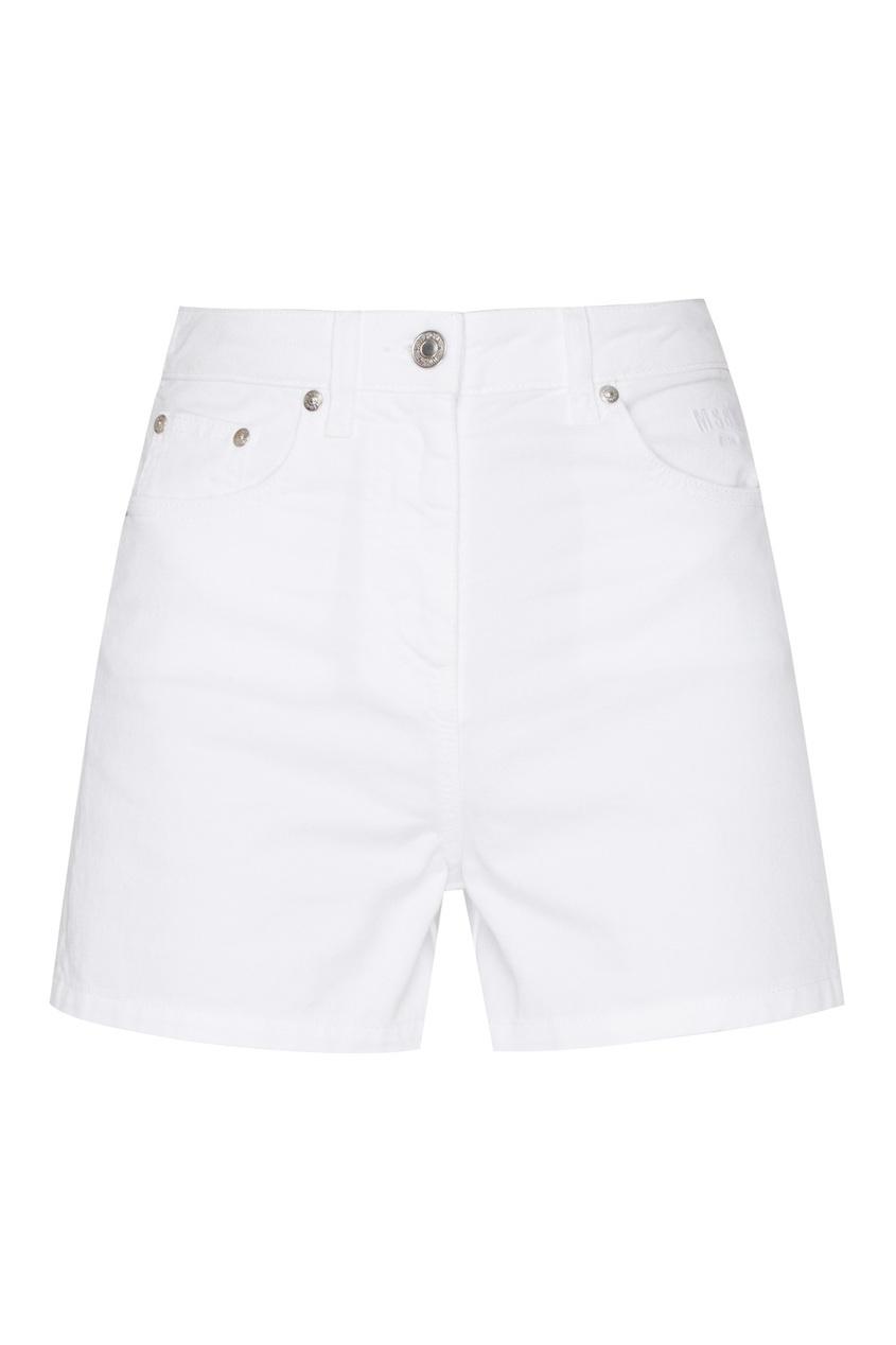 женские джинсовые шорты msgm, белые