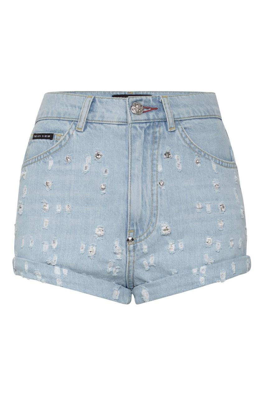 женские шорты philipp plein, голубые