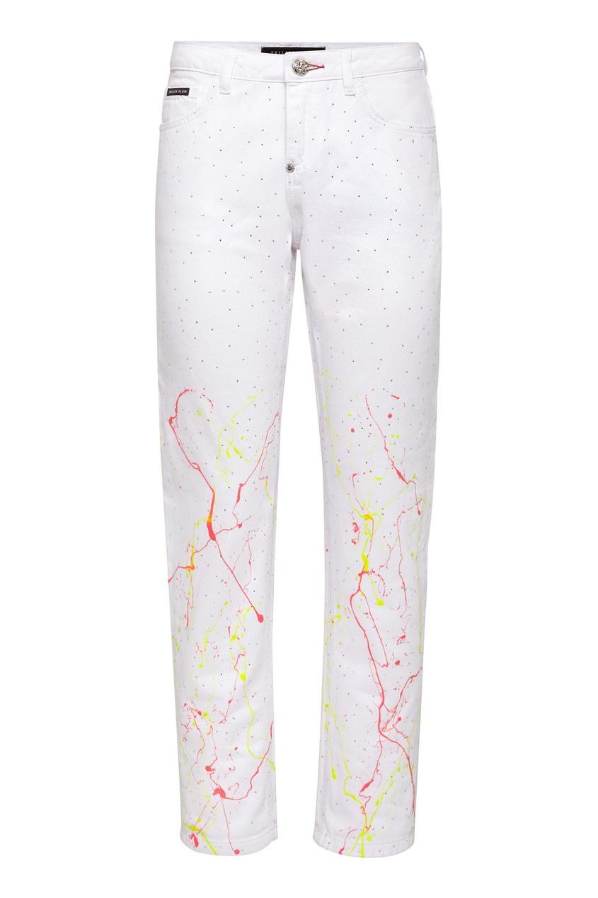 женские укороченные брюки philipp plein, белые